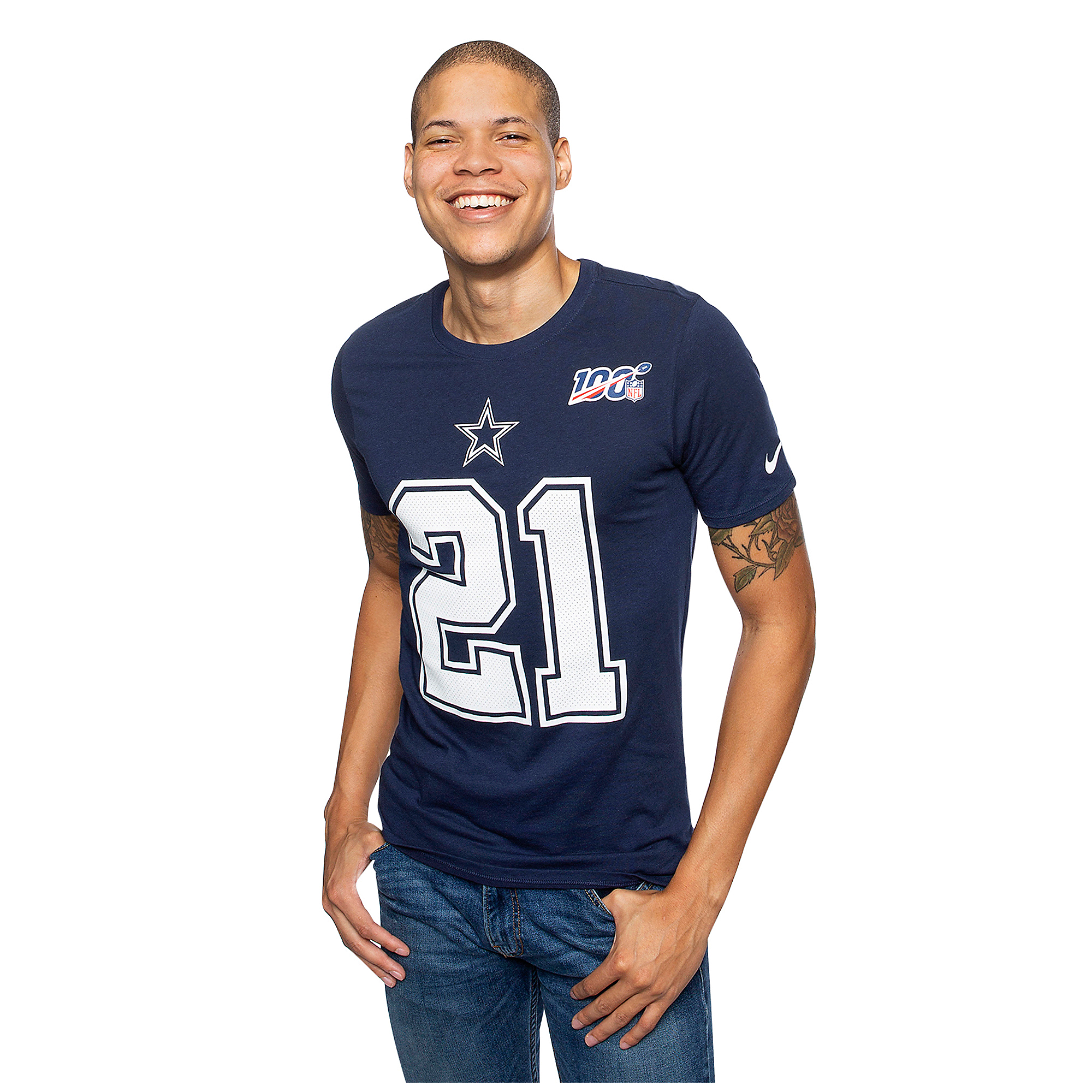 Dallas Cowboys Mens Ezekiel Elliott #21 NFL 100 Nike Player Pride T-Shirt