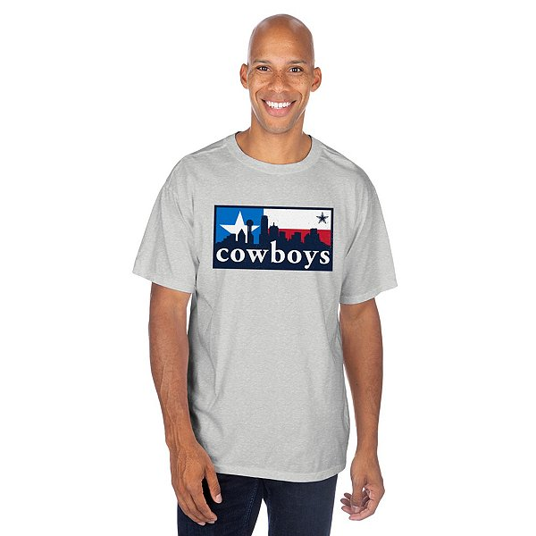 Dallas Cowboys Mens Flag Box Skyline Short Sleeve T-Shirt