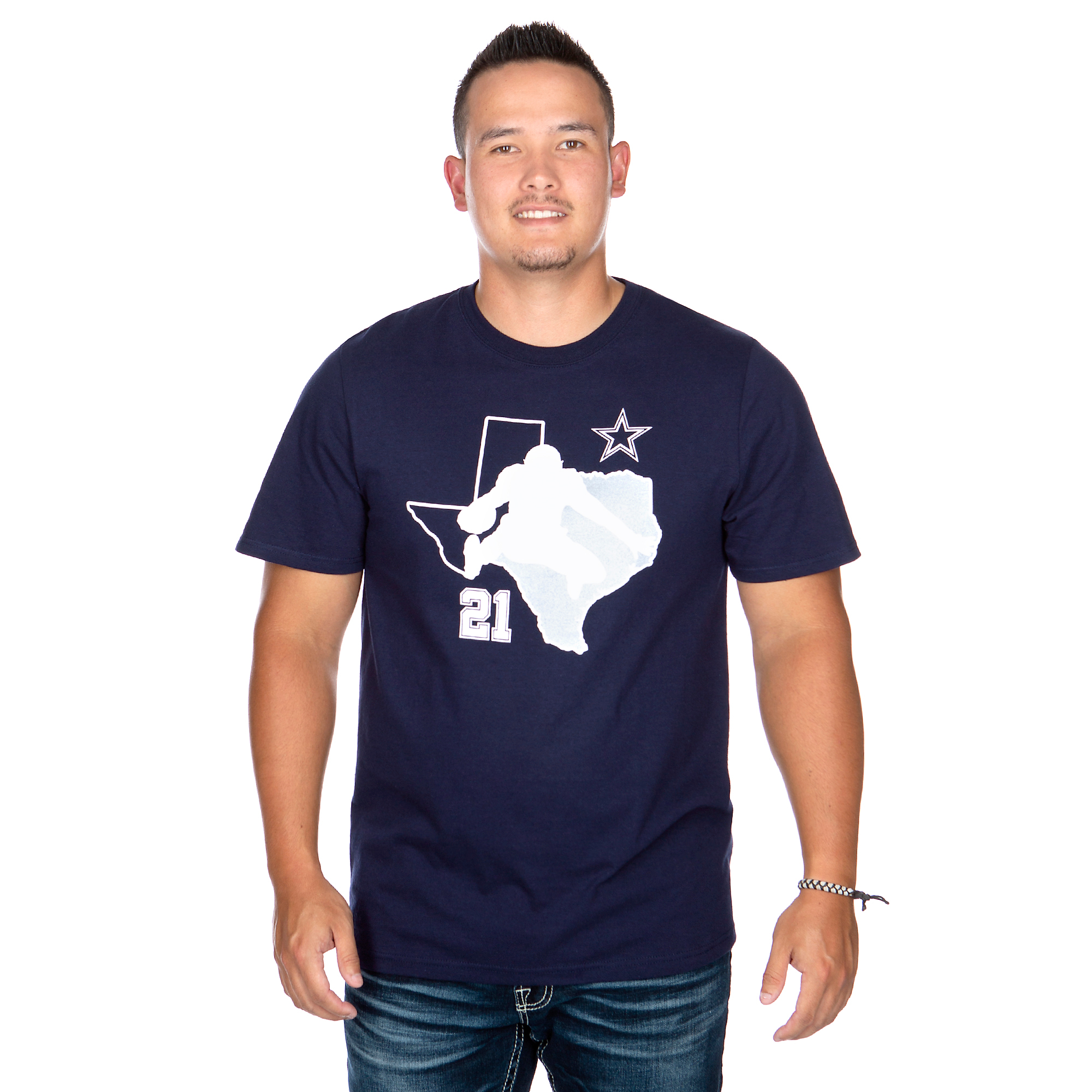 Dallas Cowboys Mens Ezekiel Elliott #21 Silhouette Short Sleeve T-Shirt