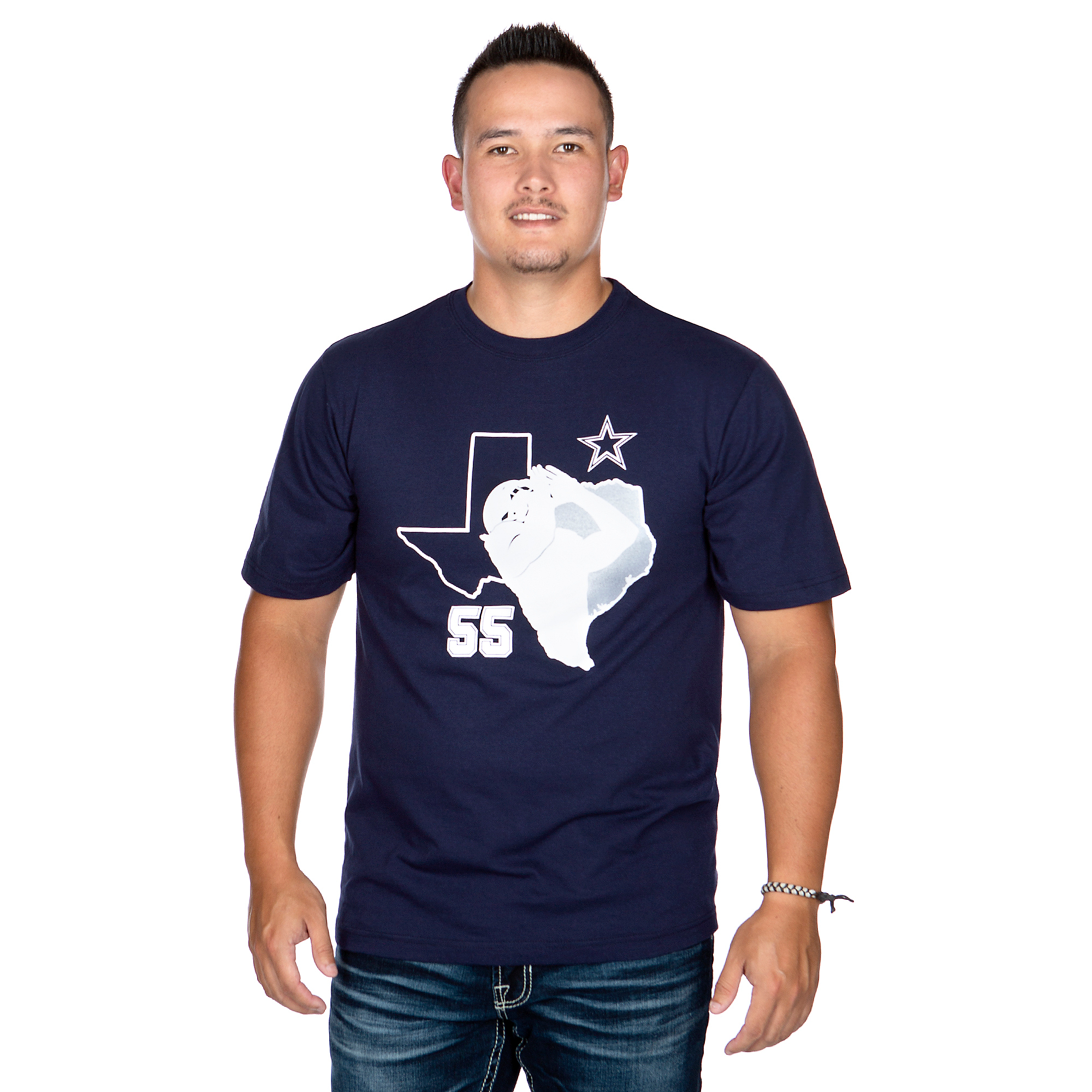 Dallas Cowboys Mens Leighton Vander Esch #55 Silhouette Short Sleeve T-Shirt