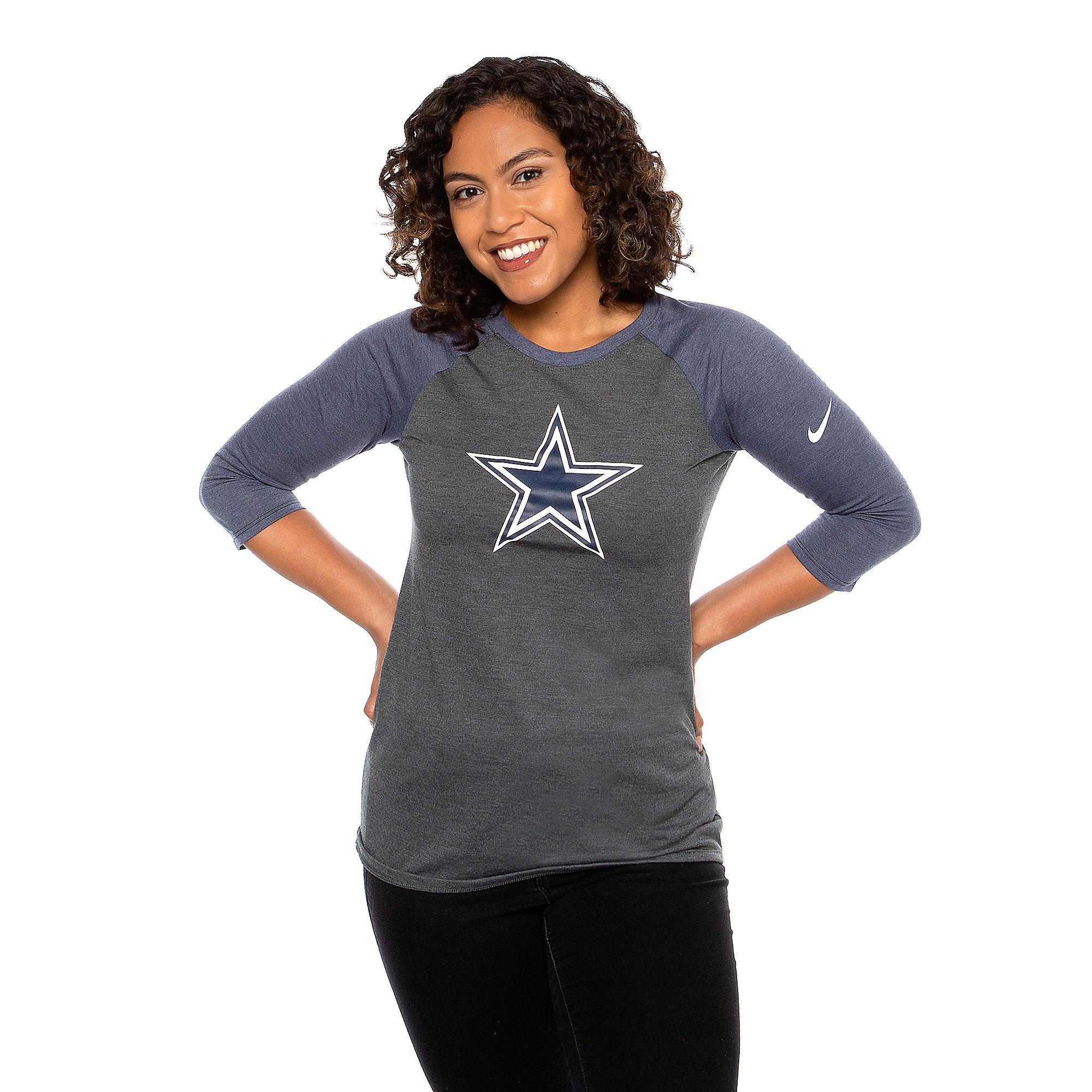 Dallas Cowboys Nike Womens 3/4 Primary Raglan T-Shirt