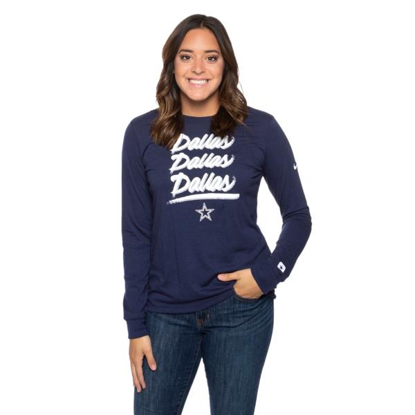 Dallas Cowboys Nike Womens Tri Wordmark Long Sleeve T-Shirt