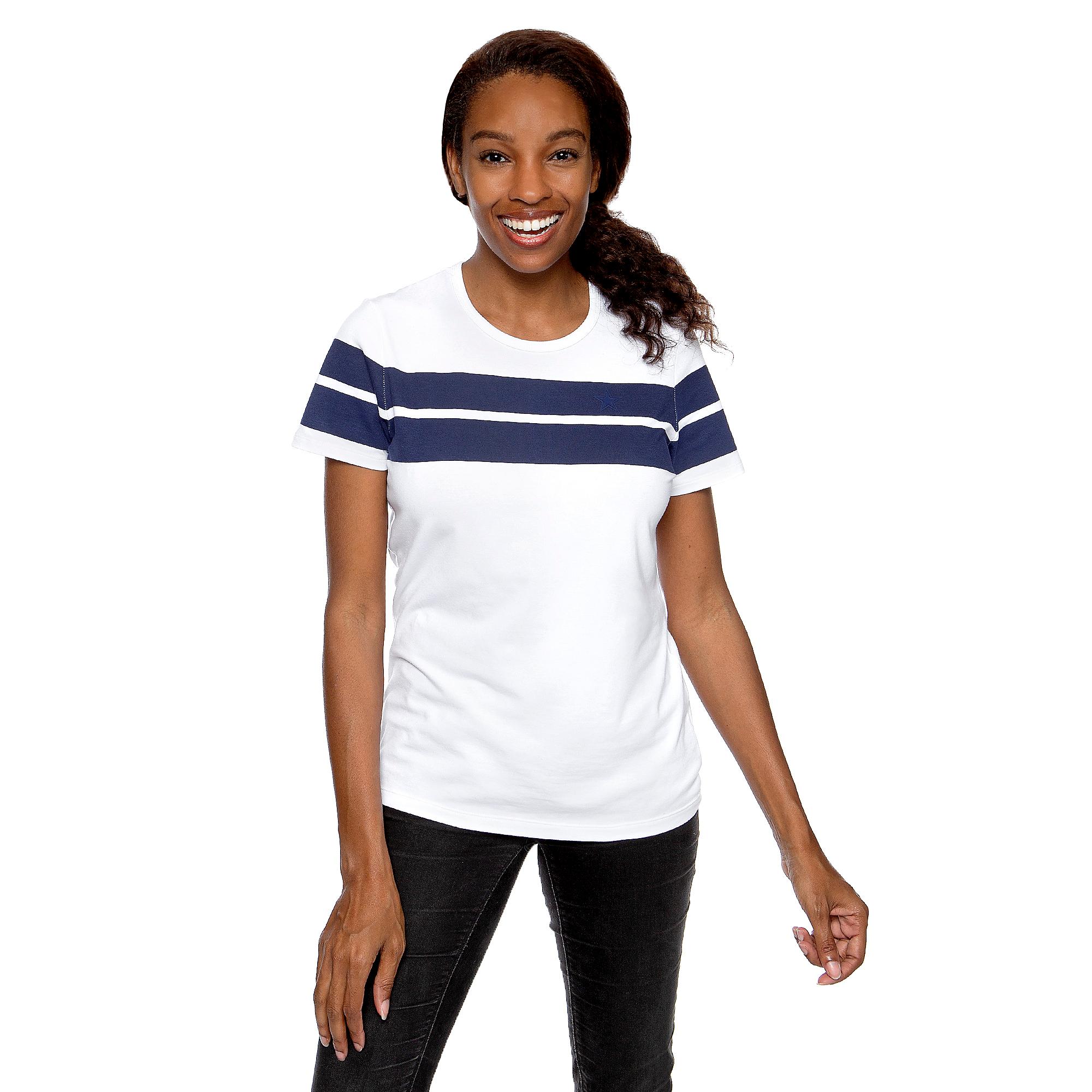 Dallas Cowboys WEAR By Erin Andrews Womens Striped Short Sleeve T-Shirt