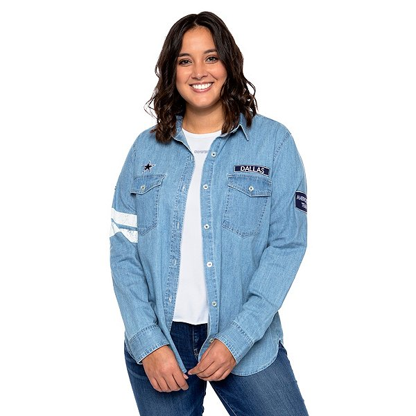Dallas Cowboys WEAR By Erin Andrews Womens Button Front Denim Shirt