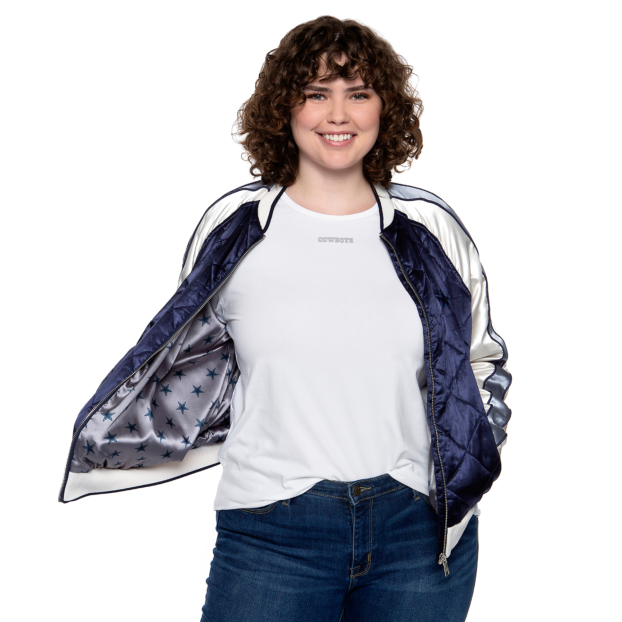 Dallas Cowboys WEAR By Erin Andrews Womens Color Block Quilted Bomber Jacket