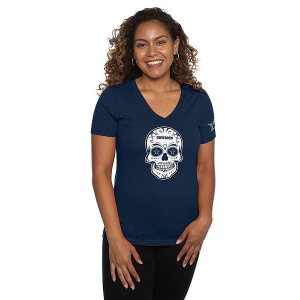 Dallas Cowboys Womens Sugar Skull Short Sleeve T-Shirt