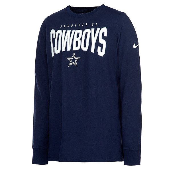 Dallas Cowboys Nike Youth Dri-FIT Cotton Property Of Long Sleeve T-Shirt