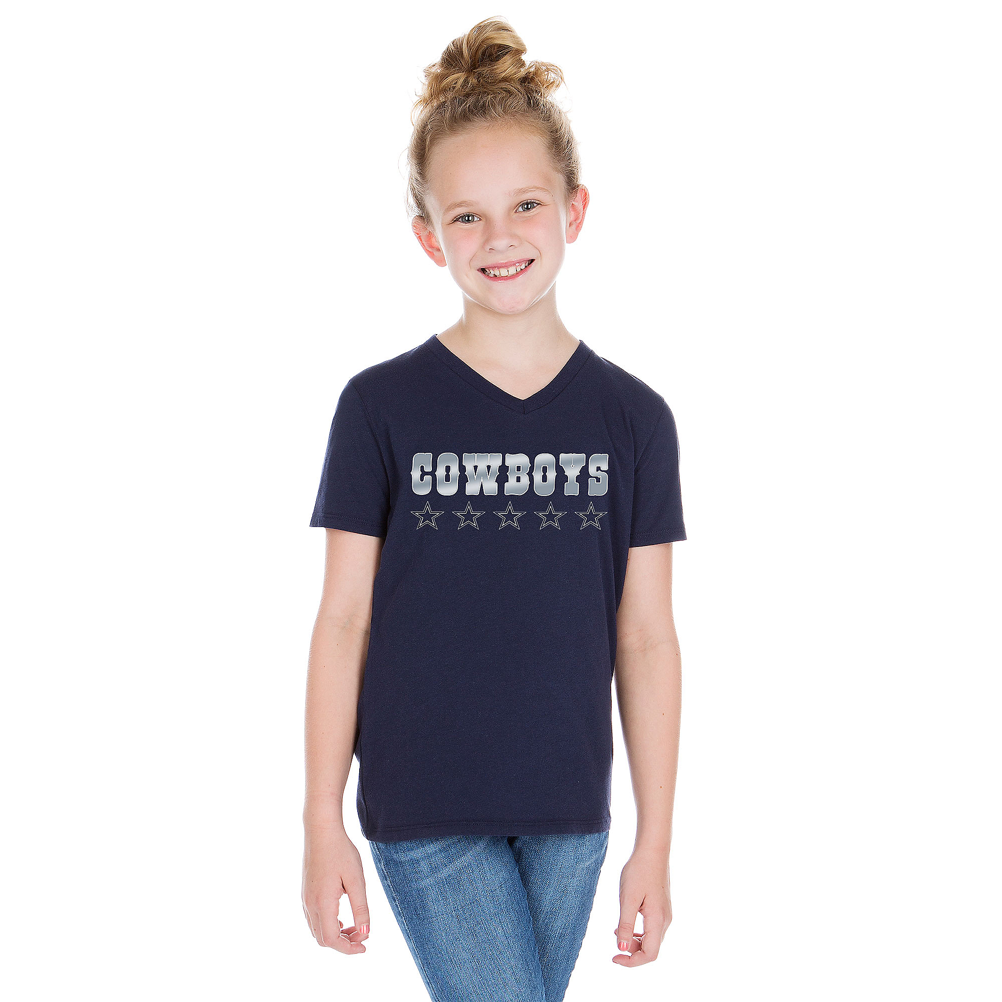 Dallas Cowboys Studio Girls Fancy Stars Short Sleeve T-Shirt
