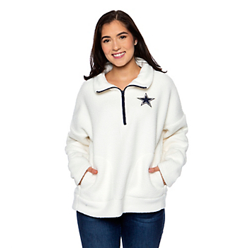 Dallas Cowboys Womens Conference Quarter-Zip Sherpa Pullover