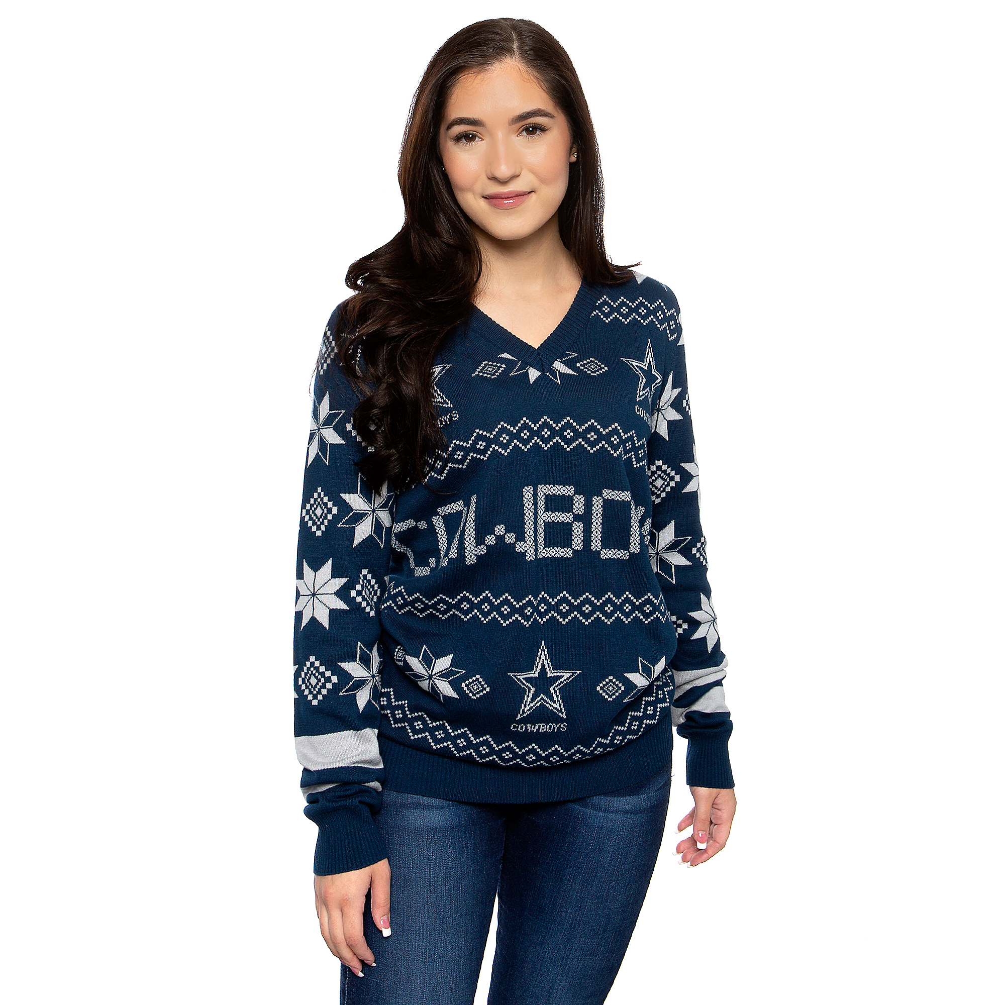 Dallas Cowboys Womens Wordmark V-Neck Ugly Sweater