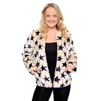Studio Chaser Womens Star Print Faux Fur Jacket
