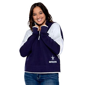 Dallas Cowboys WEAR By Erin Andrews Womens Color Block Half-Zip Pullover Sweatshirt
