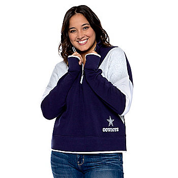 Dallas Cowboys WEAR By Erin Andrews Womens Color Block Half-Zip Pullover Sweatshirt
