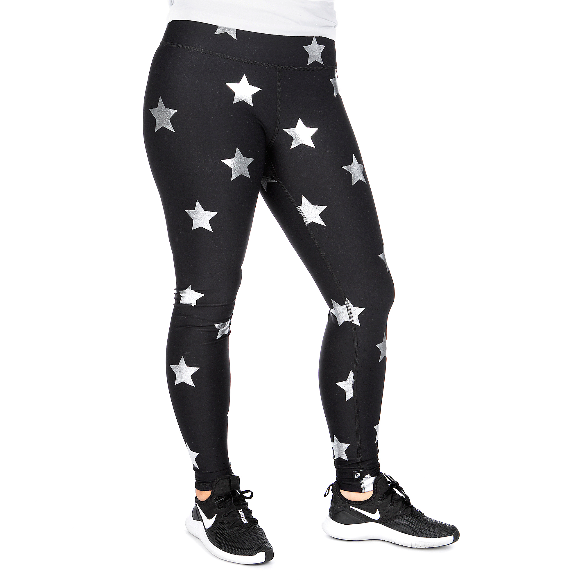 Studio Terez Black Star Silver Foil Legging
