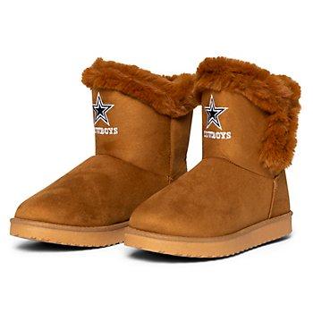 Dallas Cowboys Women's Brown Fur Boots