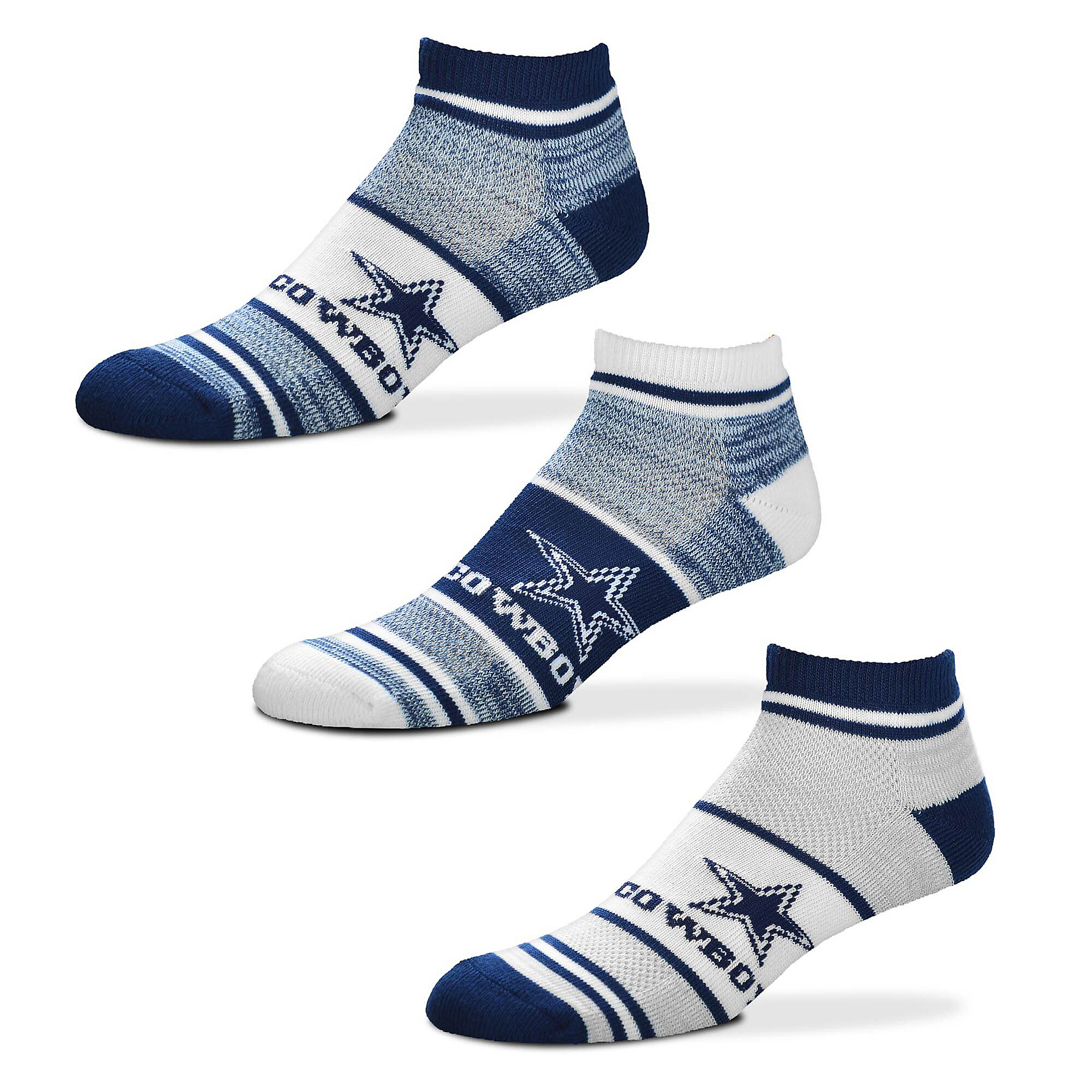 Dallas Cowboys Triplex Heathered Lightweight Socks - 3 Pack