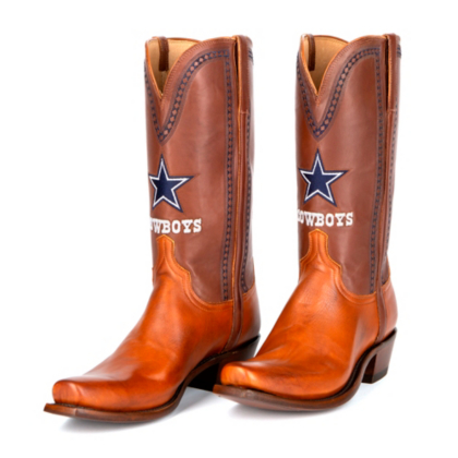 Dallas Cowboys Lucchese Mens Cognac Jersey Calf Boots
