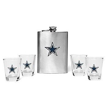 Dallas Cowboys Flask & Shot Glass 5-piece Set