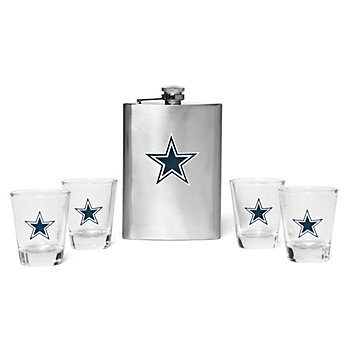 Dallas Cowboys Flask & Shot Glass 5-piece Set