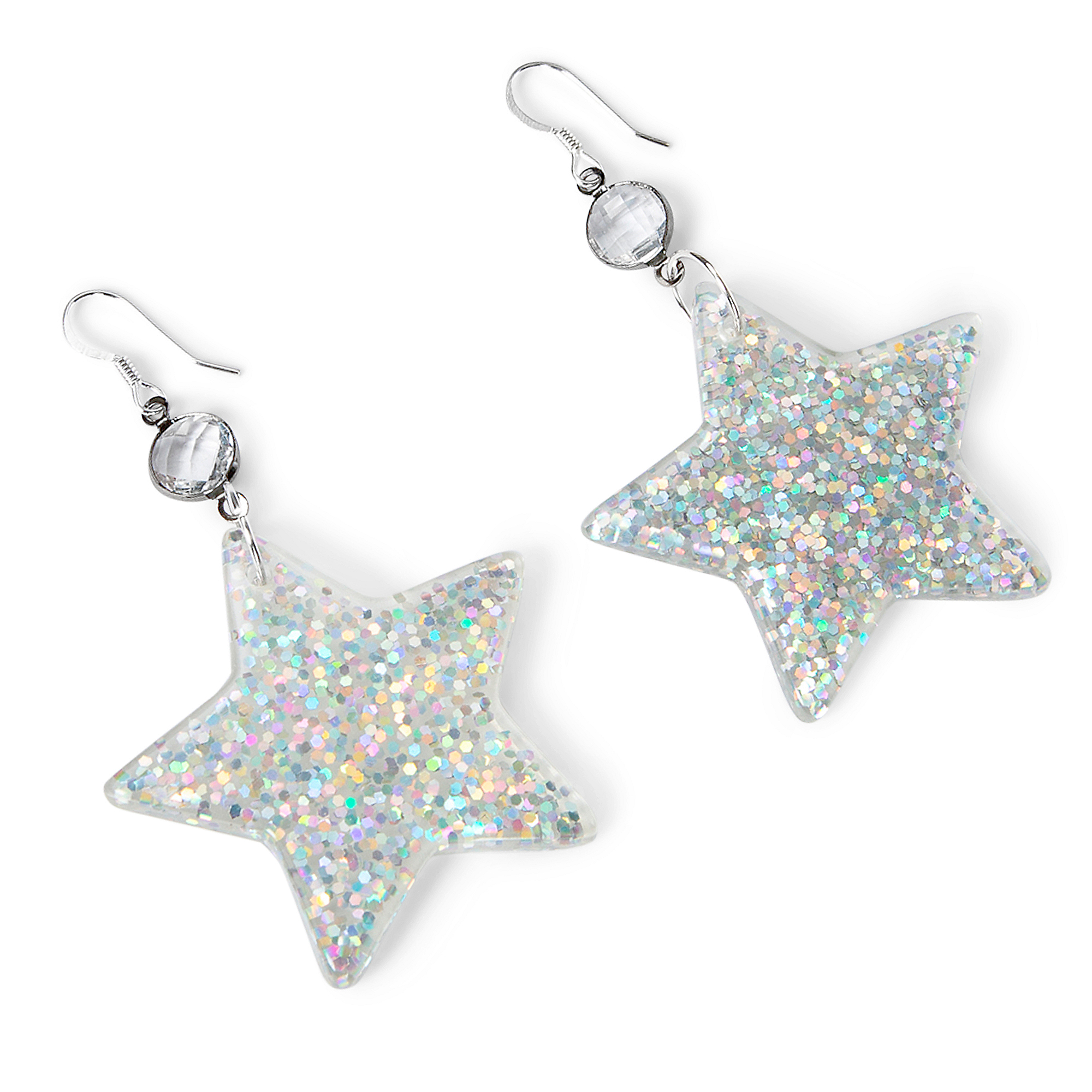 Studio Gemelli Acrylic Silver Flake Star Earrings