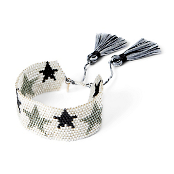 Studio Gemelli Large Silver Star Beaded Bracelet