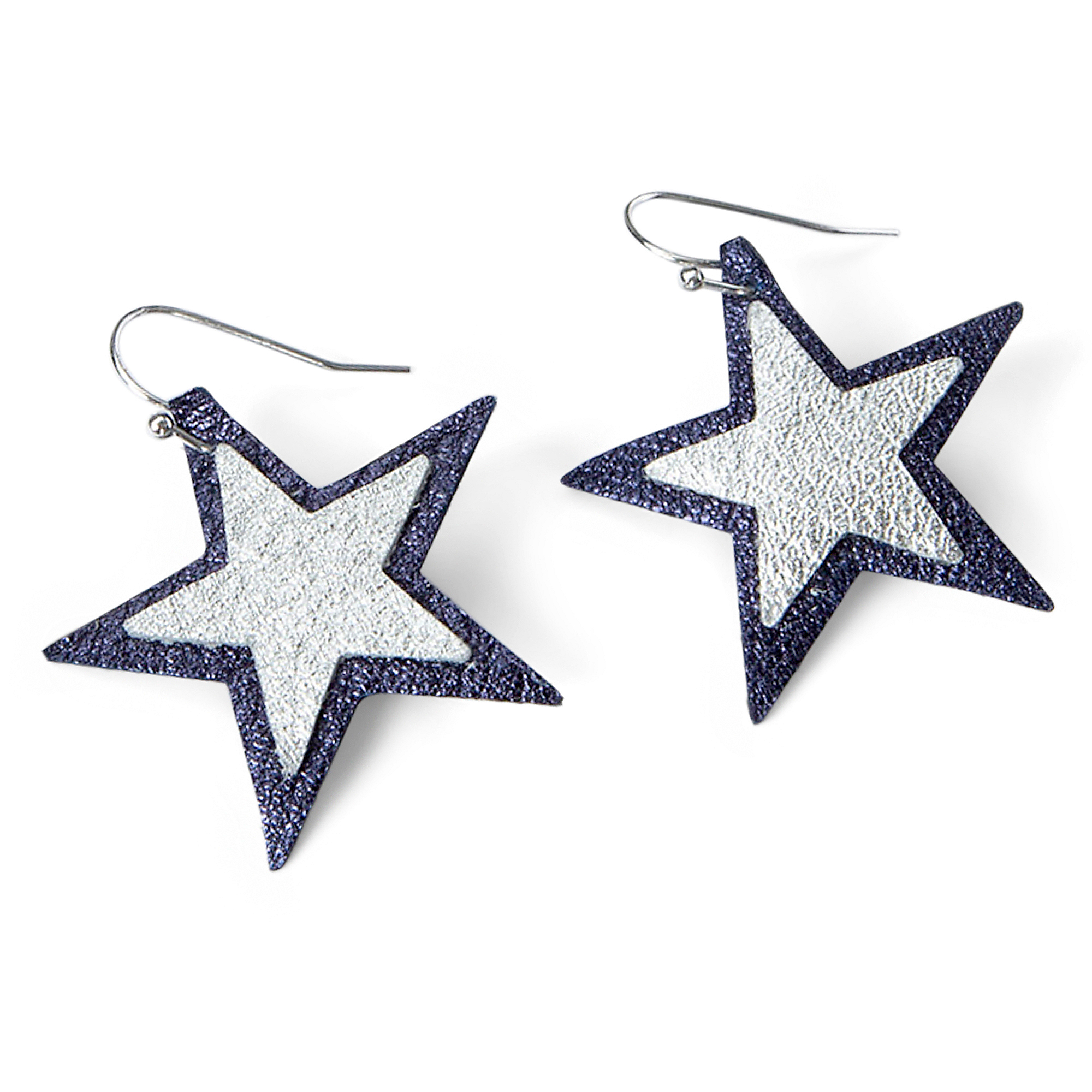 Studio Clever Bear Leathers Double Star Earrings
