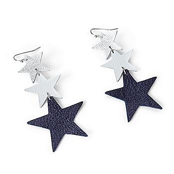 Studio Clever Bear Leathers Triple Star Earrings