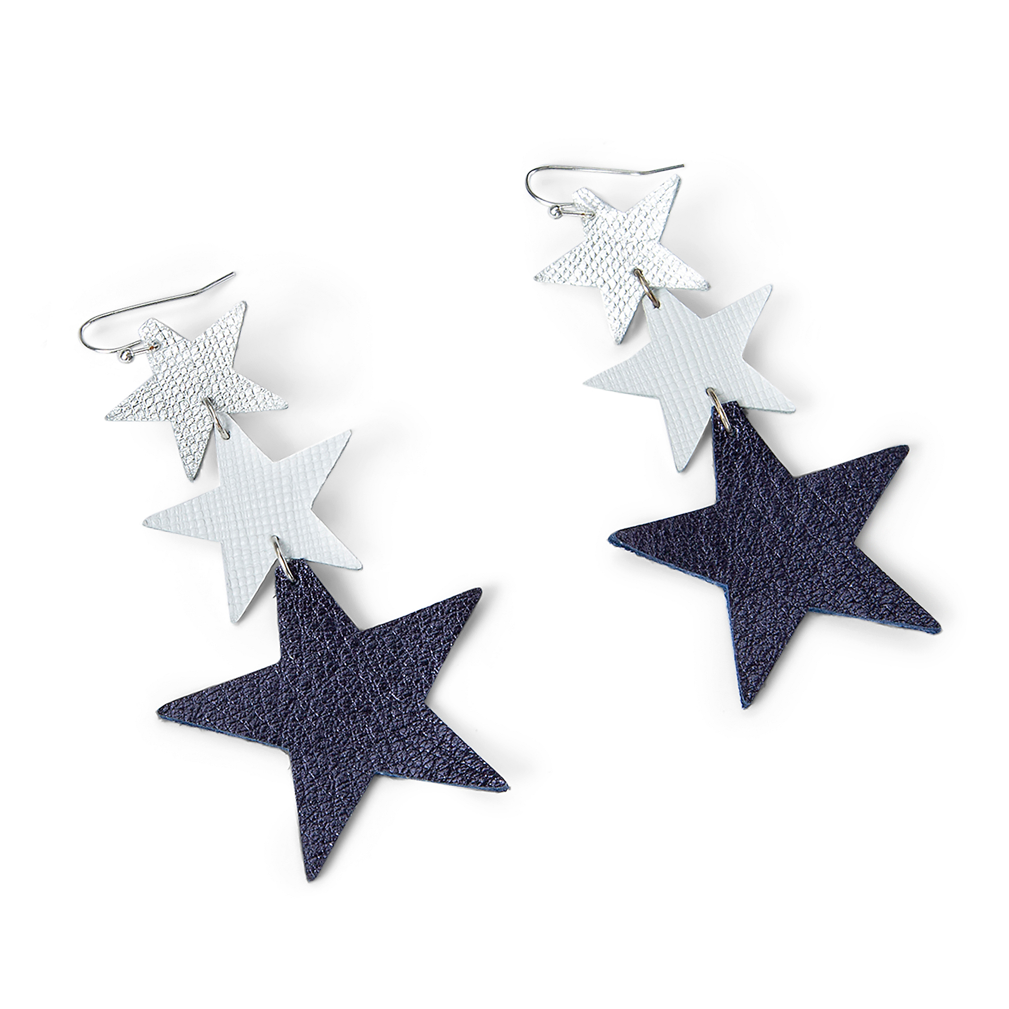 Studio Clever Bear Leathers Triple Star Earrings