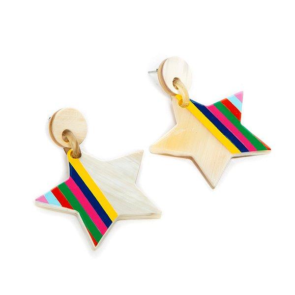Sunshine Tienda Star Buffalo Horn Multi Earrings