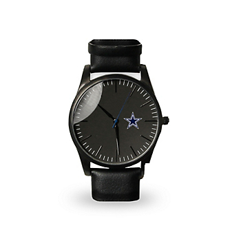 Dallas Cowboys Mens Black Leather Watch