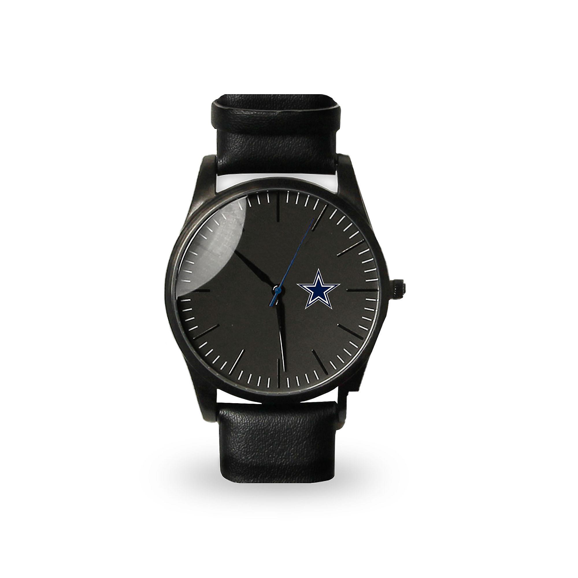Dallas Cowboys Mens Black Leather Watch