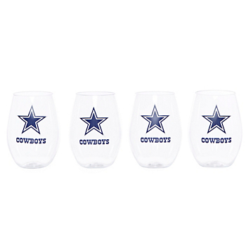 Dallas Cowboys Acrylic Stemless Wine Glasses - 4 Pack