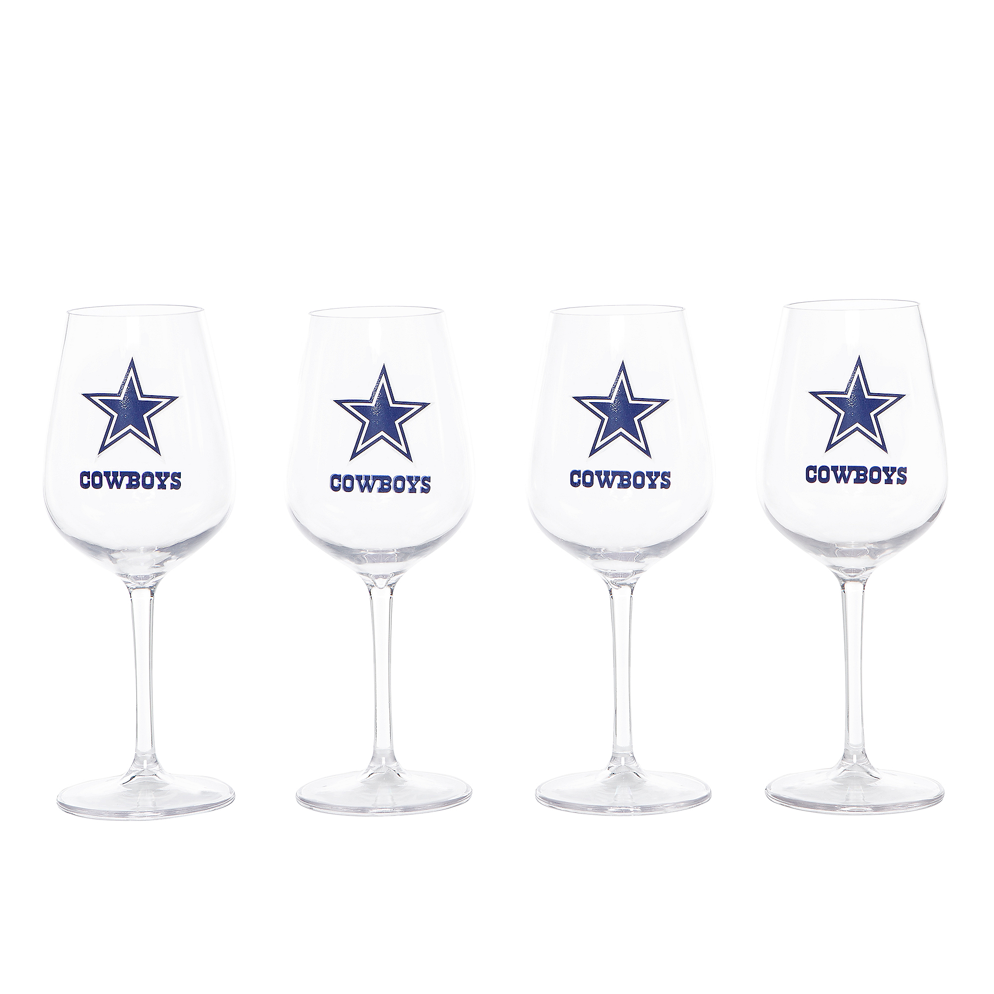 Dallas Cowboys Acrylic Stemmed Wine Glasses - 4 Pack