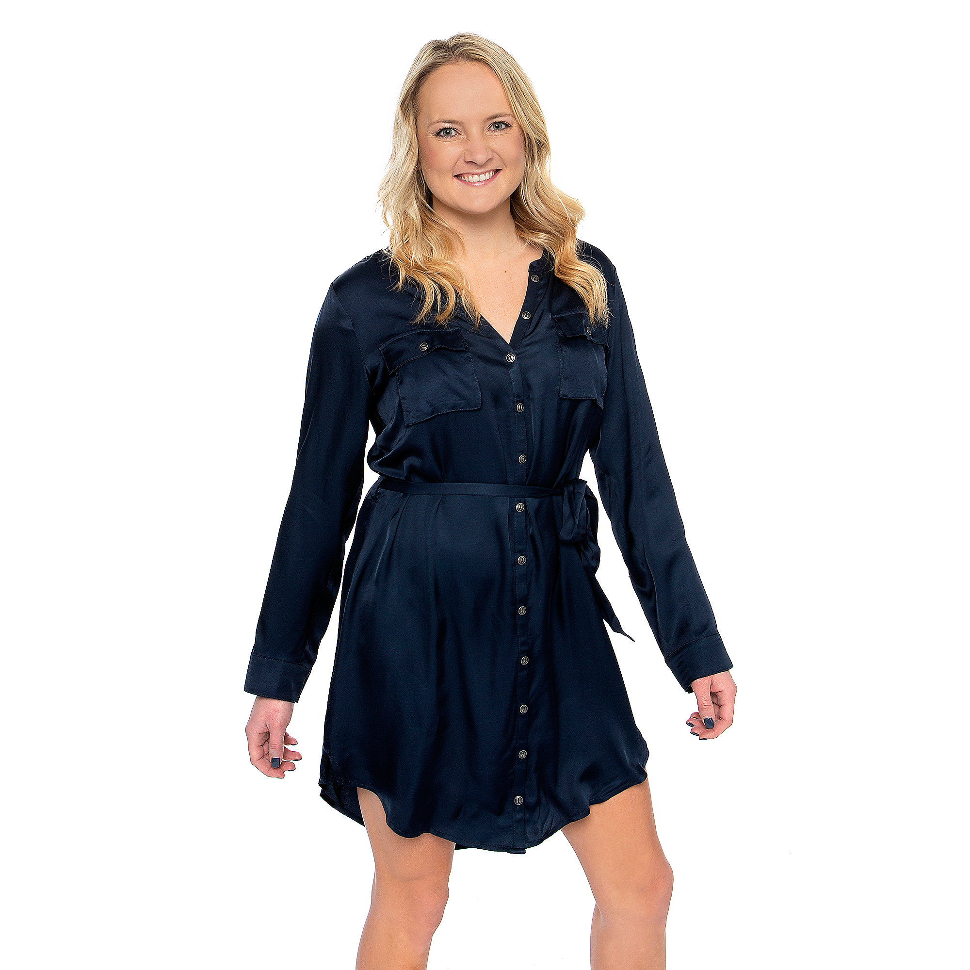 Studio Chaser Womens Silky Basics Long Sleeve Button Front Hi-Lo Dress