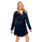 Chaser Womens Silky Basics Long Sleeve Button Front Hi-Lo Dress