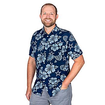 Dallas Cowboys Mens Hawaiian Floral Palm Button Down Shirt