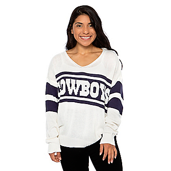Dallas Cowboys Lauren James Womens Stripe Sweater