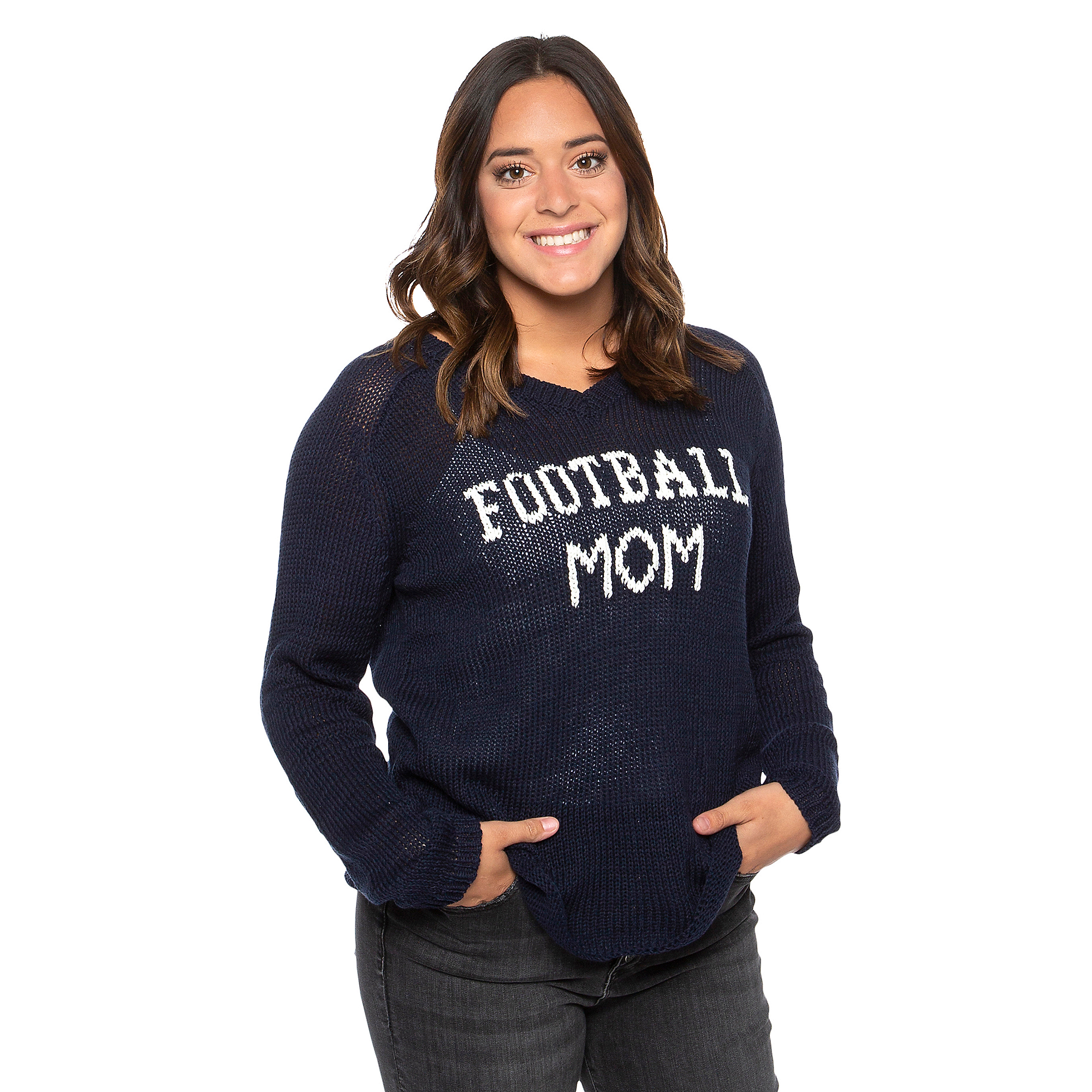 Studio Wooden Ships Football Mom V-Neck Cotton Sweater