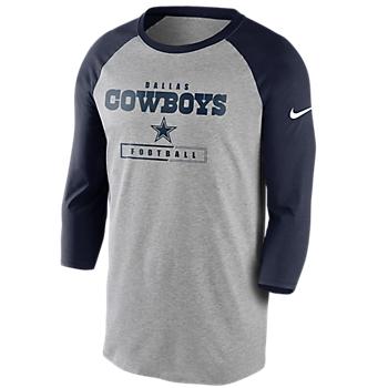 Dallas Cowboys Nike Mens Wordmark Football All 3/4 Sleeve Raglan T-Shirt