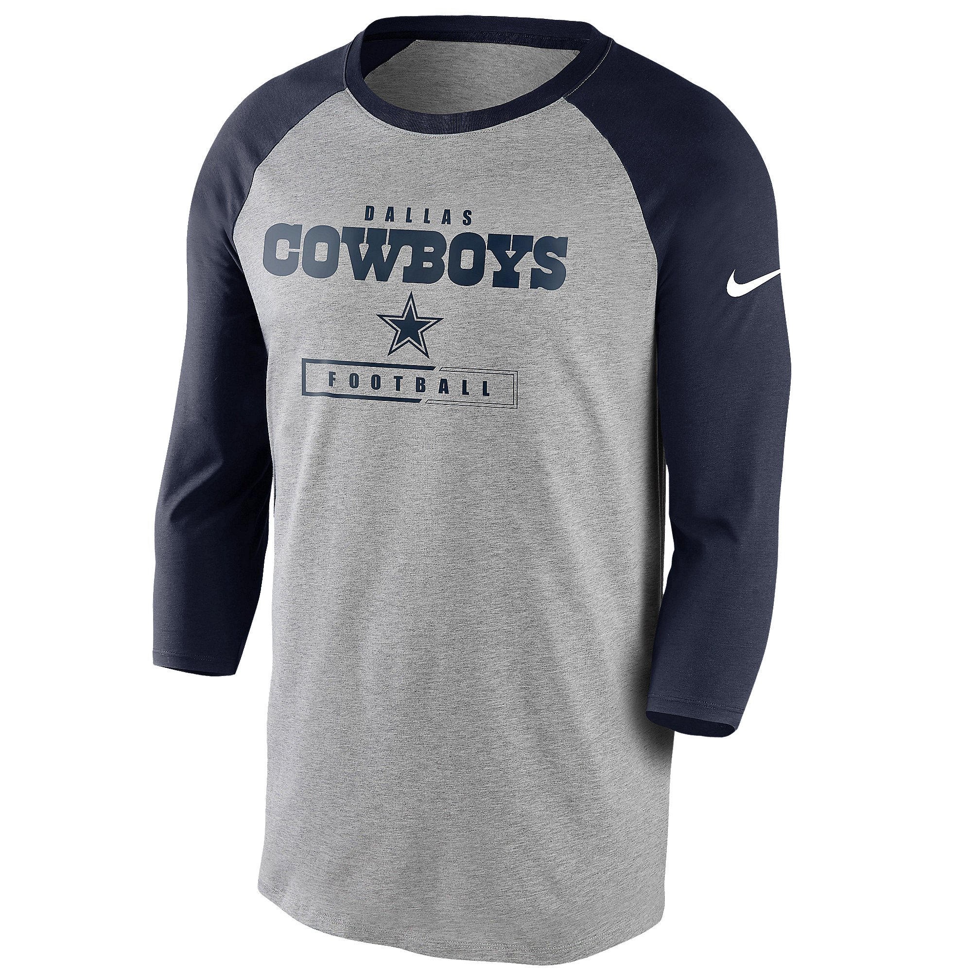 Dallas Cowboys Nike Mens Wordmark Football All 3/4 Sleeve Raglan T-Shirt