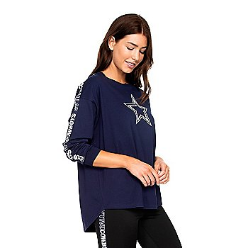 Dallas Cowboys Womens Jaiden Oversized Long Sleeve T-Shirt