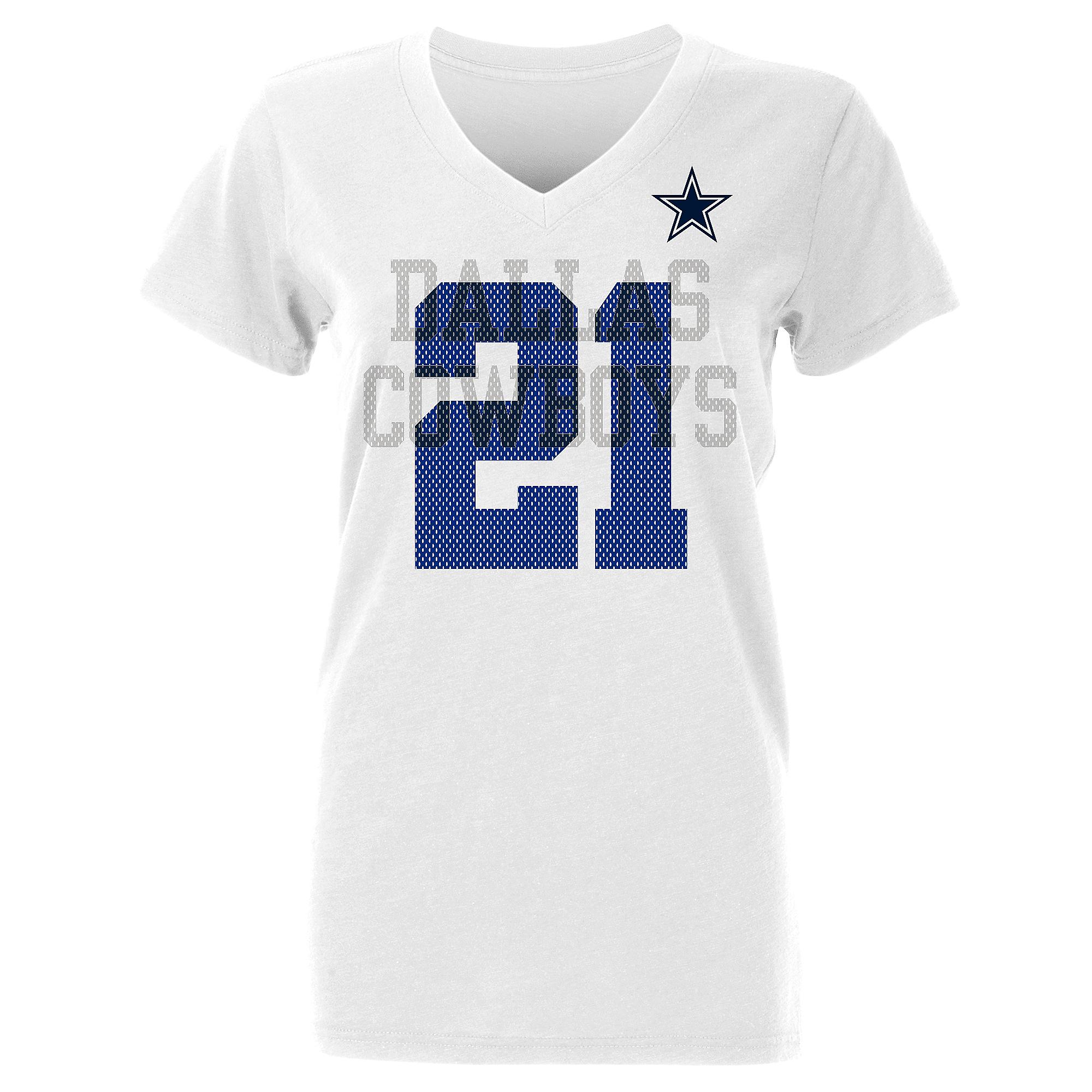 Dallas Cowboys Womens Ezekiel Elliott #21 Ashlee Short Sleeve T-Shirt