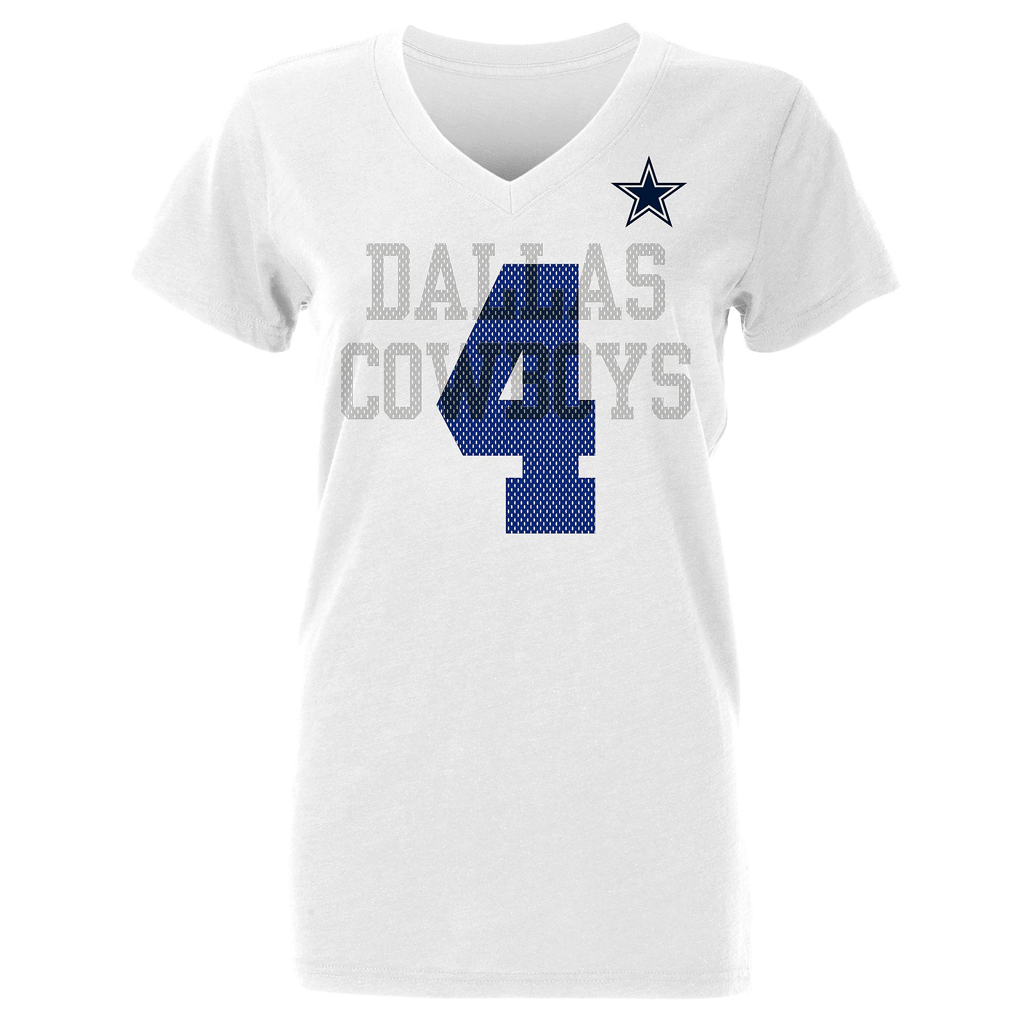 Dallas Cowboys Womens Dak Prescott #4 Ashlee Short Sleeve T-Shirt