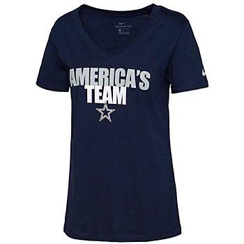 Dallas Cowboys Nike Womens Local Impact Triblend V-Neck T-Shirt