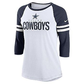 Dallas Cowboys Nike Womens Sleeve Stripe 3/4-Sleeve Raglan T-Shirt