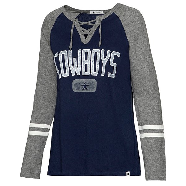 Dallas Cowboys '47 Brand Womens Stamp Fade Full Time Lace Up T-Shirt