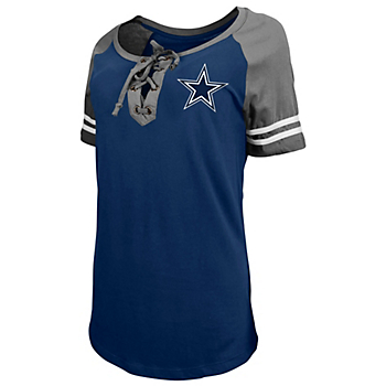 Dallas Cowboys New Era Womens Lace Up Raglan T-Shirt