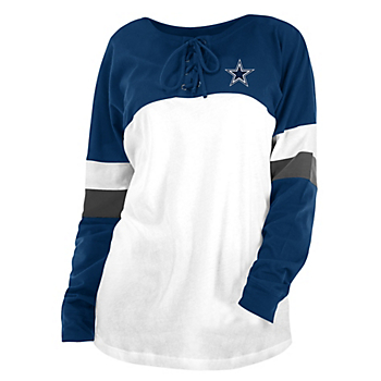 Dallas Cowboys New Era Womens Lace Up Blocked Crew T-Shirt