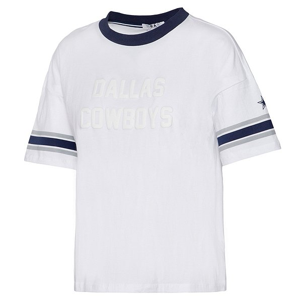 Dallas Cowboys WEAR By Erin Andrews Womens Cropped Ringer T-Shirt
