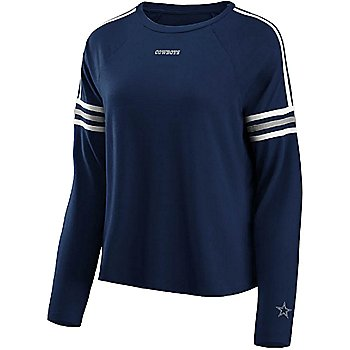 Dallas Cowboys WEAR By Erin Andrews Womens Long Sleeve Shoulder Taping T-Shirt